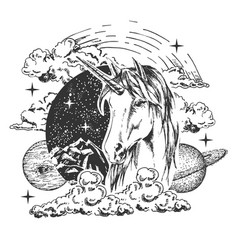 magical unicorn tattoo or t-shirt print vector image