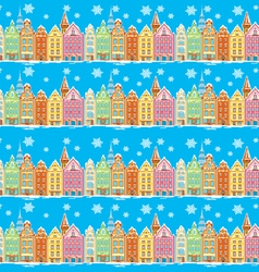 Vintage buildings seamless with snowfall vector image vector image