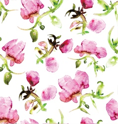 Watercolor seamless flower pattern vector image vector image