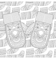 Winter knitted mittens on Sock for gift from Santa vector image vector image