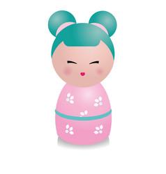 cute kawaii kokeshi doll traditional japanese vector image vector image
