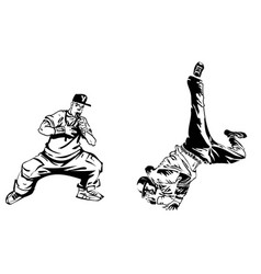 raper and dancer on white background extreme vector image