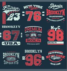 set of 9 brooklyn vector image vector image