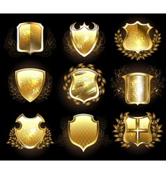 Set of Golden Shields vector image