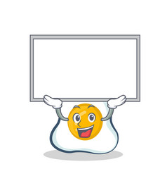up board fried egg character cartoon vector image vector image
