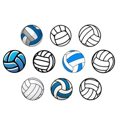 Volleyball balls in outline and cartoon style vector