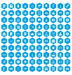 100 government icons set blue vector