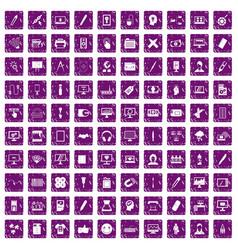 100 webdesign icons set grunge purple vector