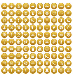 100 woman shopping icons set gold vector