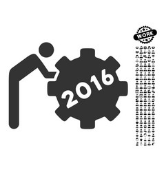 2016 working man icon with work bonus vector