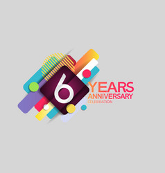6 years anniversary colorful design with circle vector