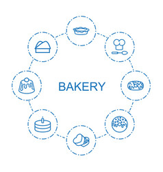 8 bakery icons vector