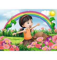 A happy girl at the garden with fresh blooming vector image vector image