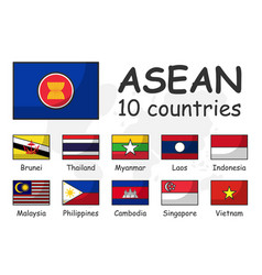 Asean and membership flag association of vector