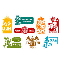Aztec and maya corporate business identity icons vector