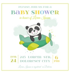 Baby shower or arrival card - panda in plane vector