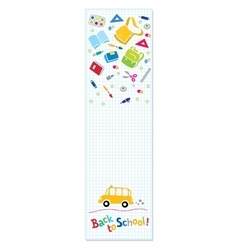 Back to school Vertical banner or bookmark vector