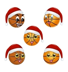 Basketball ball in the hat of santa claus vector