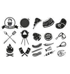 bbq vintage emblem set barbeque retro icons vector image
