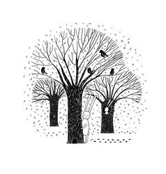 Beautiful trees birds and rabbit vector