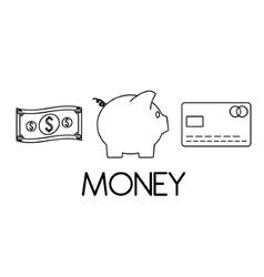 Bill piggy and credit card design vector