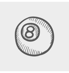 Billiard ball sketch icon vector image