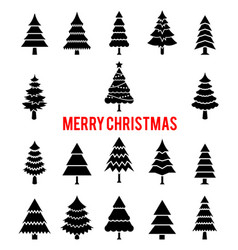 black silhouettes of christmas trees vector image
