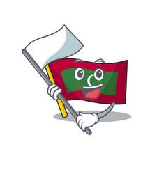 Bring flag cartoon flag maldives in with mascot vector