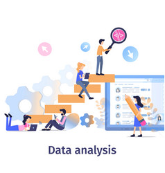 Business data analysis teamwork strategy growth vector