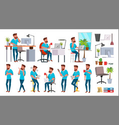Business man character working people set vector