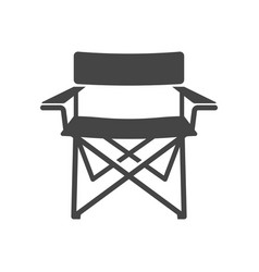 Camping chair bold black silhouette icon isolated vector