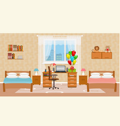 Children bedroom interior with two beds holiday vector