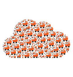 Cloud collage of baby carriage icons vector