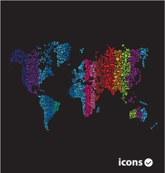 color world map on black vector image