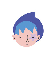 Colorful boy head with star tattoo and turban vector