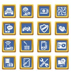 computer repair service icons set blue square vector image