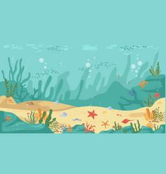 Corals and algae underwater world sea bottom view vector