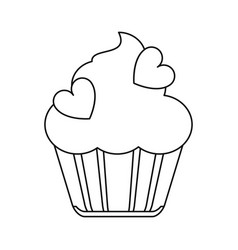 cup cake love line vector image
