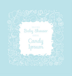 cute bashower invitation card for newborn boy vector image