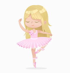 cute blond small princess girl ballerina dance vector image