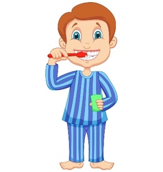 Cute little boy cartoon brushing teeth vector