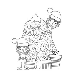 cute santa helpers with pine tree vector image