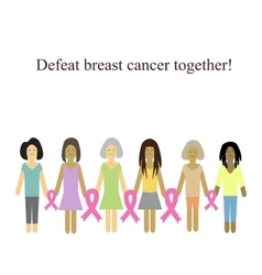 Defeat cancer together on vector image