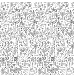 Doodle forest seamless pattern vector
