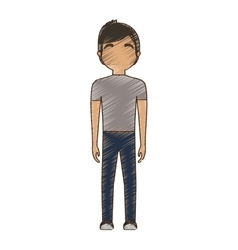 drawing avatar man tshirt and jeans standing vector image