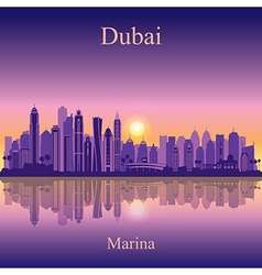 Dubai Marina silhouette on sunset background vector image vector image