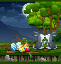 Easter bunnies kissing with eggs around vector