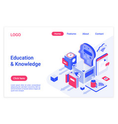 education and knowledge isometric landing page vector image