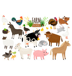 farm animals domestic farm animal collection vector image