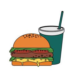 fast food hamburger icon vector image